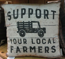 Support Your Local Farmers -- Throw Pillow- Two Sided-Primitives By Kathy