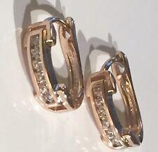u Real ROSE GOLD filled huggie hoop earrings, sim diamonds, Plum UK BOXED