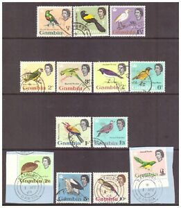 Gambia QEII 1963 Pictorial Definitive Birds set used SG193-205