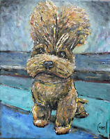 BUFFY puppy dog pet new oil painting 8x10 canvas original signed art Crowell $