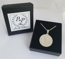 Bible Verse Prayer Necklace Stainless Steel Praying Hands Medal w/Chain