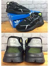 Adidas Originals Para Hombre UK 9 UE 43 1/3 Nite Jogger 3M Negro Zapatillas Rrp £ 115 EP