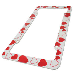 CarXS 2 PC Pink Hearts Cute Lovely Love Girly License Plate Holder Plastic Frame