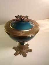 Vintage Enamel Brass Blue-Green Pedestal Covered Bowl Israel Judaic
