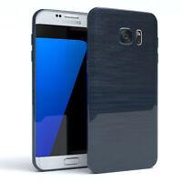Schutz Hülle für Samsung Galaxy S7 Edge Brushed Cover Handy Case Dunkelblau