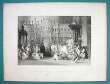 TURKEY Interior of Church at Magnesia Bishops - 1840 Antique Print by Allom
