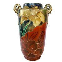 "Vintage Nippon? 12"" Urn Vase Moriage Hand Painted Navy Burnt Orange Unmarked"