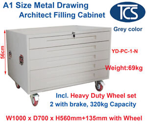 TCS NEW GREY A1 PLAN 5 DRAWER METAL ARCHITECT CABINET WHEELS for Posters Art Map