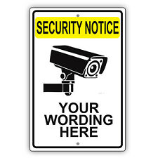 Security Notice Personalized Words Custom Designed Novelty Aluminum Metal Sign