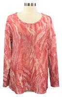BELLE by Kim Gravel size M sorbet swirl long sleeve scoop neck stretch knit top