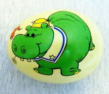 Vintage Ceramic Easter Egg Painted Hippo And Bird
