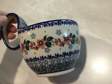 New C.A. Polish Pottery 14 oz Loop Handled Bowl-Red Blossoms