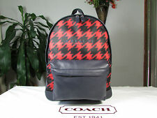 NWT Coach Leather & Print Nylon Campus Backpack F71755 Red Houndstooth