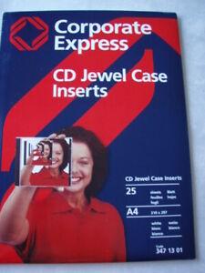 CD Jewel case inserts Einleger Cover CD-Einleger NEU/25 St. Corporate Express