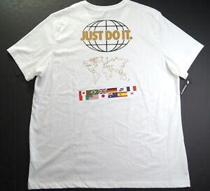 NIKE Men's White Olympic Flag Print Back Crewneck T-Shirts CT6553-100 NWT