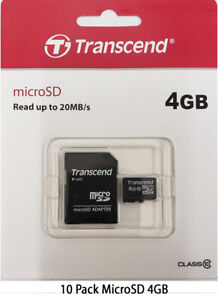 10 x Transcend 4GB MicroSD Memory Card with Adapter for Android, Phone, Tablet