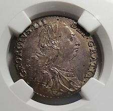 1787 UK Great Britain Shilling KM# 607.2 w/ Hearts NGC MS64 BU Silver Toned Coin