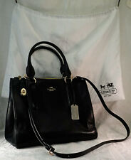 Coach Black Leather Double Zip Carryall Tote Handle & Strap + White Satin BAG