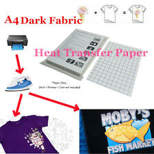 T-shirt Inkjet Iron-on Heat Transfer Paper for Dark Fabric A4 11.7 X 8.3 in