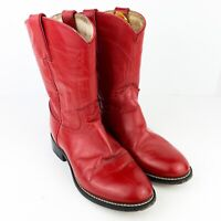Justin Red Leather Cowboy Western Roper Boots Youth Size 2.5 D Style 3035Y