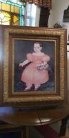 Vtg Antique Victorian Wood Chalk Flower/Leaf Frame picture . Child Print.