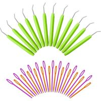 Loom Knit Hook Crochet Knitting Loom Hooks with Plastic Needles Large Eye S C2L8
