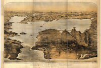 Map of San Francisco CA 1876 Antique Map Bird's Eye or Pictorial Map