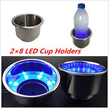 8LED Blue Recessed Stainless Steel Cup Drink Holder For Marine Boat Car RV 2pcs