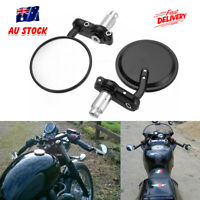 """Pair Motorcycle Handle Bar End Mirrors Side View Motorbike 7/8"""" 22mm Cafe Racer"""