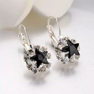 Beautiful Black Star Hoops Lever Fit Made With Swarovski Crystals Party Gift