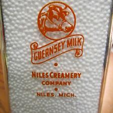 NIles, Mich. Niles Creamery Co. SPP Milk Bottle MICHIGAN MI Guernsey COW head