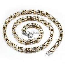 Thick Stainless Steel Flat Byzantium Chain Necklace for Men Birthday Gifts
