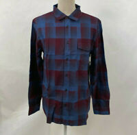 Lost Men's LS Woven Button Down The Sliver Flannel Maroon/Blue Plaid Size XL NWT