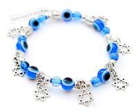 Jewish Judaica LUCKY Blue EYE Beades Star of David Charm Pendant Bangle Bracelet