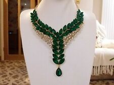 Brand new massive stunning gold statement necklace with green and clear crystal