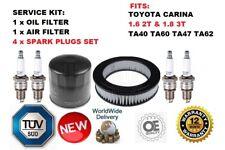 FOR TOYOTA CARINA 1.6 TA40/60 1.8 TA47/62 OIL AIR FILTER & 4 SPARK PLUG SERVICE