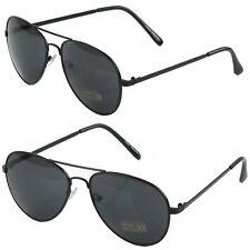 Fashion Aviator Men's Women's Sunglasses Black Metal Frame Vintage Retro Pilot