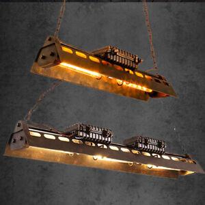 Industrial Linear Chandelier Iron Multi Light Pool Table Rust Pendant Lamps