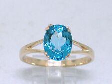 Blautopas Ring 585 Gelbgold 14Kt Gold natürlicher beh. Blautopas oval facettiert
