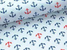 Jersey Baumwolljersey  Anker Maritim weiß blau rot Meterware Stoff Pumphose