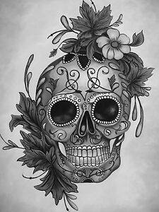 human skull art painting contemporary gothic  black white  A1 SIZE PRINT