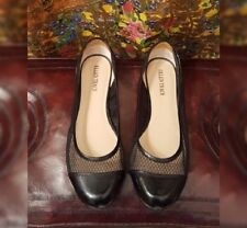 Ellen Tracy black ballet flats with patent leather and mesh toes, Size 7.5 M