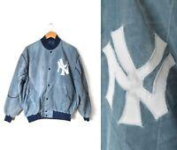 Vtg Starter Acid Wash Sz Large New York Yankees MLB Jacket Stone Gray Baseball