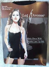 BEAUTIFUL STRETCHY BLACK LACE UP MINI DRESS LBD CLUBWEAR GLAMOUR LEG AVENUE PUNK