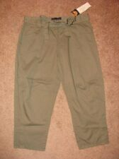 SANCTUARY OLIVE GREEN ARMY CARGO HIGH WAISTED SEATTLE CROP PANTS CAPRIS NWT 28
