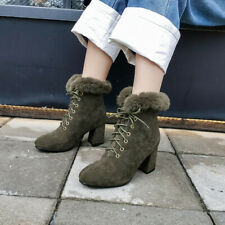 Womens Outdoor Fur Lined Round Toe Ankle Boots Snow Winter Warm Mid Heel Shoes