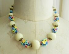 Art Deco Style Multicolour Flowers and Cream Glass Beads Necklace
