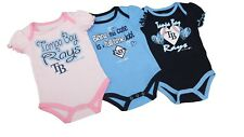 Tampa Bay Rays Official MLB Baby Infant Size Girls 3 Piece Creeper Bodysuit Set