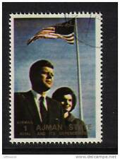 Usa John & Jackie Kennedy Jfk Cto Unmounted From Ajman Uae With America Flag