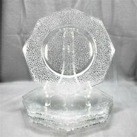Set of 4 | Smith Glass | By Cracky | Clear | Octagonal Salad Plates